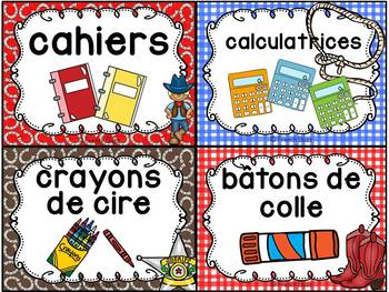 Classroom Supply Labels French - 100 étiquettes pour la classe - Cowboys
