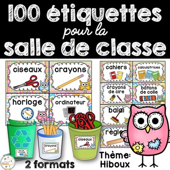 Classroom Supply Labels French - 100 étiquettes pour la classe - Hiboux
