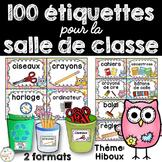 Classroom Supply Labels French - 100+ étiquettes pour la classe - Hiboux
