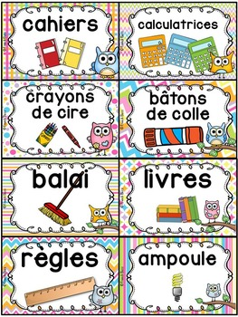 Classroom Supply Labels French - 100+ étiquettes pour la classe - Hiboux