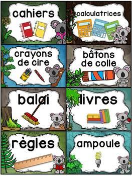 Classroom Supply Labels French - 100+ étiquettes pour la classe - Koalas