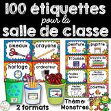 Classroom Supply Labels French - 100+ étiquettes pour la classe - Monstres