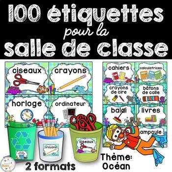 Classroom Supply Labels French - 100 étiquettes pour la classe - Océan