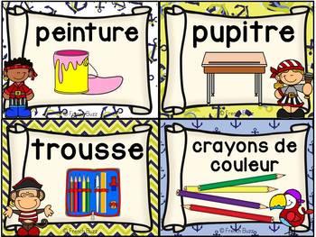 Classroom Supply Labels French - 100 étiquettes pour la classe - Pirates