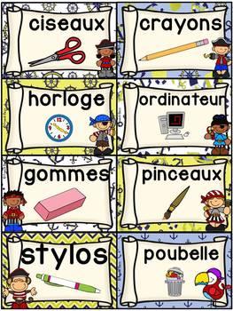 Classroom Supply Labels French - 100+ étiquettes pour la classe - Pirates