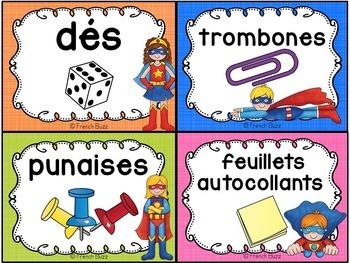 Classroom Supply Labels French - 100+ étiquettes pour la classe - Super-héros