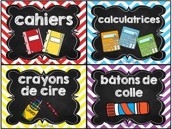 Classroom Supply Labels French - 100 étiquettes pour la classe - Version 2