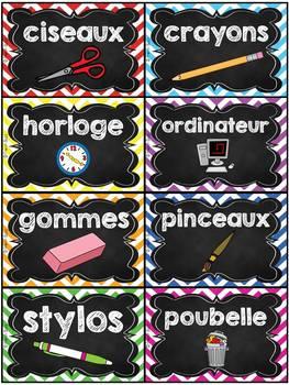 Classroom Supply Labels French - 100+ étiquettes pour la classe - Version 2