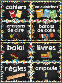 Classroom Supply Labels French - 100 étiquettes pour la classe - Version 3