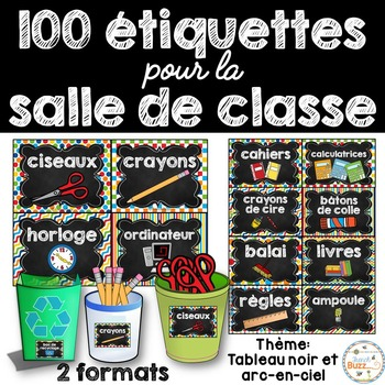 Classroom Supply Labels French - 100+ étiquettes pour la classe - Version 3