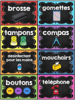 Classroom Supply Labels French - 100 étiquettes pour la classe - Version 4