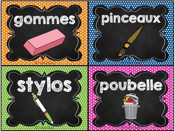 Classroom Supply Labels French - 100+ étiquettes pour la classe - Version 4