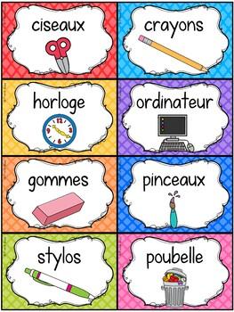 Classroom Supply Labels French - 100 étiquettes pour la classe - Version 5