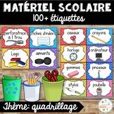 Classroom Supply Labels French - 100+ étiquettes pour la classe - Quadrillage
