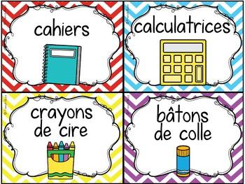 Classroom Supply Labels French -100 étiquettes pour la classe - Chevron et blanc