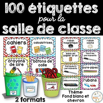 Classroom Supply Labels French -100+ étiquettes pour la classe - Chevron + blanc