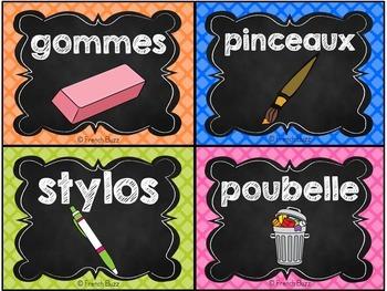 Classroom Supply Labels French - 100 étiquettes pour la classe - Version 1