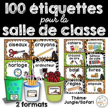 Classroom Supply Labels French - 100 étiquettes pour la classe - Jungle/Safari