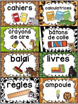 Classroom Supply Labels French - 100+ étiquettes pour la classe - Jungle/Safari