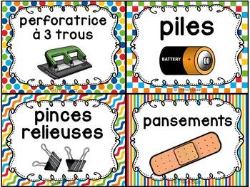 Classroom Supply Labels French - 100 étiquettes pour la classe - Version 7