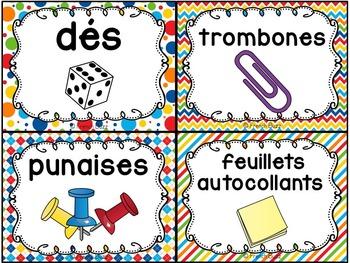 Classroom Supply Labels French - 100+ étiquettes pour la classe - Version 7