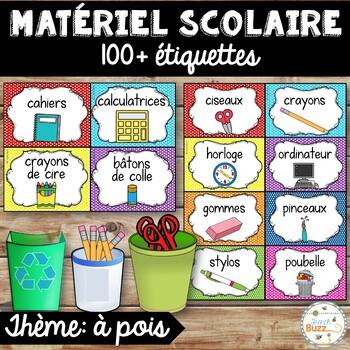 Classroom Supply Labels French - 100 étiquettes pour la classe - Version 8