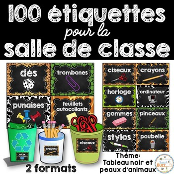 Classroom Supply Labels French - 100 étiquettes pour la cl