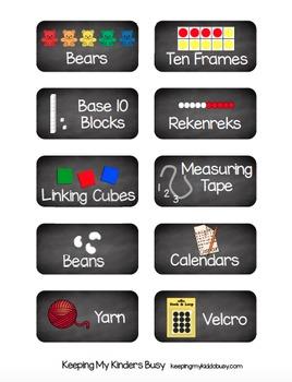 Classroom Supply Labels - Math Manipulative Tags - Chalkboard - EDITABLE