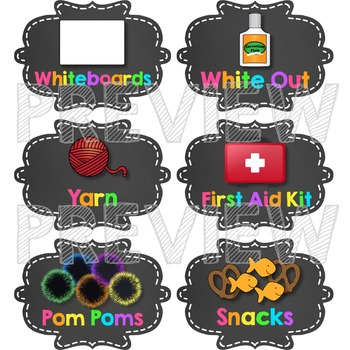 Classroom Supply Labels - Neon Brights Chalkboard