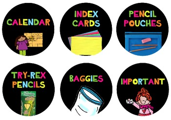 Classroom Supply Labels Only {Neon Bright}