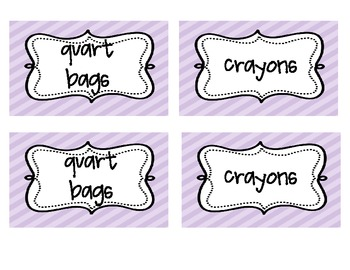 Classroom Supply Labels--Pastel stripe backgrounds