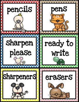 Classroom Supply Labels - Pets Theme
