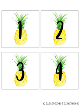 Classroom Supply Labels - Pineapple Theme