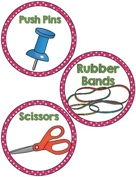 Classroom Supply Labels- Pink