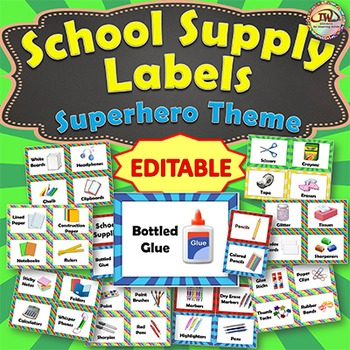 EDITABLE Classroom Supply Labels EDITABLE School Supply Labels PRIMARY COLORS