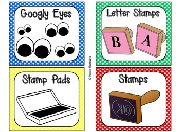 Classroom Supply Labels {Primary Polka Dot Theme}