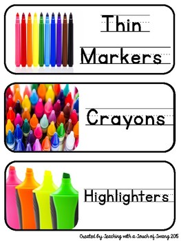 Classroom Supply Labels Primary - Real Life Photos