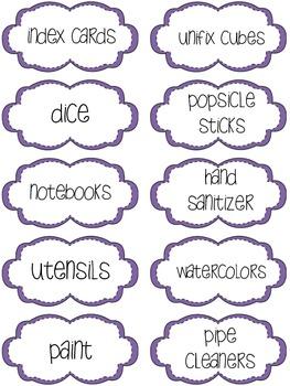 Classroom Supply Labels - Purple Stitches