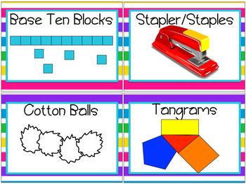 Classroom Supply Labels Rainbow Theme