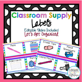 Classroom Supply Labels Rainbow Theme With Editable Slide