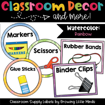 Classroom Supply Labels- Rainbow Watercolor