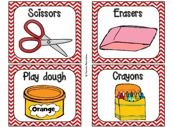 Classroom Supply Labels {Red ChevronTheme}
