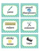 Classroom Supply Labels - Get Organized! Seafoam and Lime Dot and Chevron Theme
