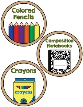 Classroom Supply Labels- Shabby Chic Burlap