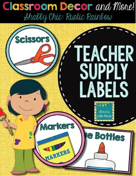 Classroom Supply Labels- Shabby Chic Rustic Rainbow Burlap