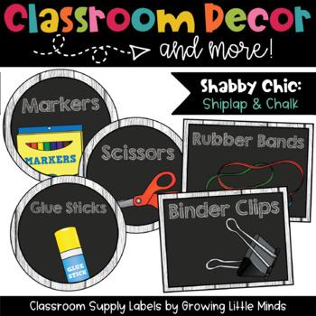 Classroom Supply Labels- Shabby Chic Rustic Shiplap Wood C