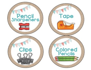 Classroom Supply Labels {Shabby Chic and Burlap Themed}