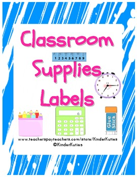 Classroom Supply Labels (Teal Splatter)