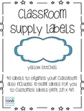 Classroom Supply Labels - Yellow Stitches