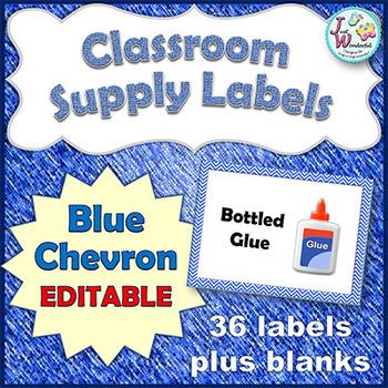 EDITABLE Classroom Supply Labels EDITABLE School Supply Labels BLUE CHEVRON